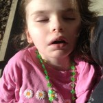 "She might be sick but she is still sporting her ""IRISH"" bling :)"